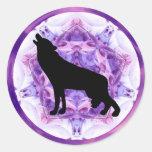 Kaleidoscope Howling Wolf Round Sticker
