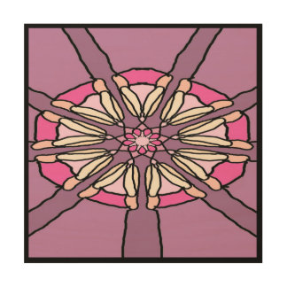Kaleidoscope in Purple and Pink Wood Print