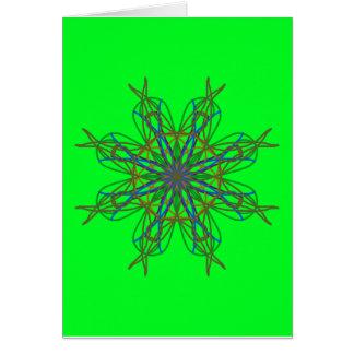 Kaleidoscope Mandala Art Neon Green Energy Star Greeting Card