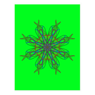 Kaleidoscope Mandala Art Neon Green Energy Star Postcard