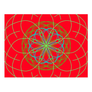 Kaleidoscope Mandala Art Red Green Energy Ball Postcard