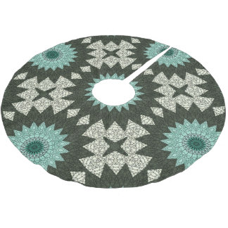 Kaleidoscope Mandala in Green and Blue Brushed Polyester Tree Skirt