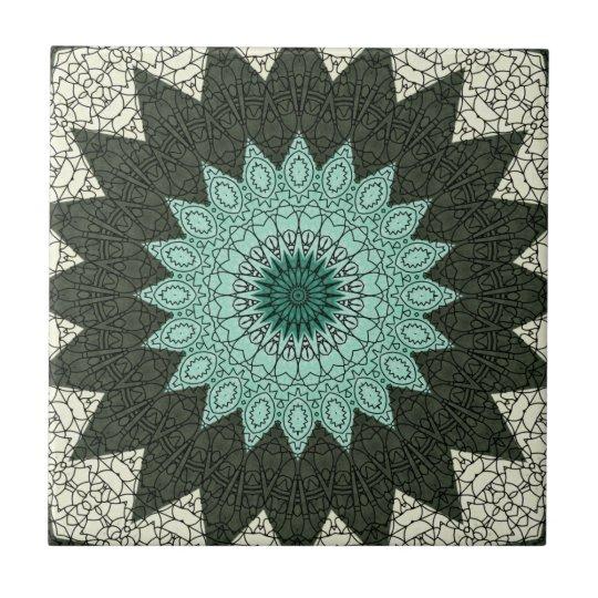 Kaleidoscope Mandala in Green and Blue Tile