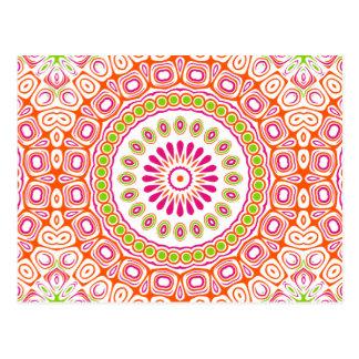 Kaleidoscope Mandala in Orange, Pink and Green Postcard