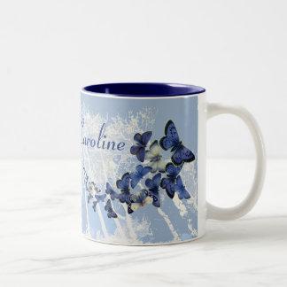 Kaleidoscope of Blue Butterflies: Custom Two-Tone Coffee Mug