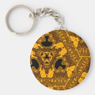 Kaleidoscope of Brass Skull Basic Round Button Key Ring