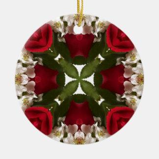 Kaleidoscope of Roses Double-Sided Ceramic Round Christmas Ornament