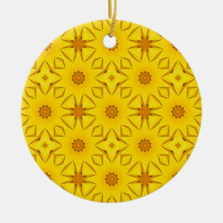 Kaleidoscope of Sunflowers, Bright Yellow Christmas Ornament
