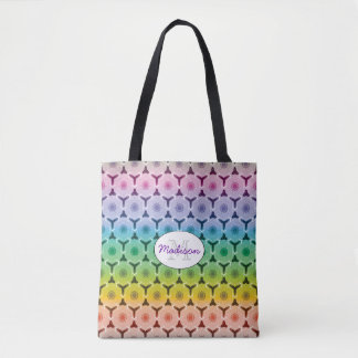 Kaleidoscope pastel rainbow pattern monogram tote bag