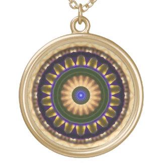 Kaleidoscope Pattern Earthtone Circle Design Round Pendant Necklace