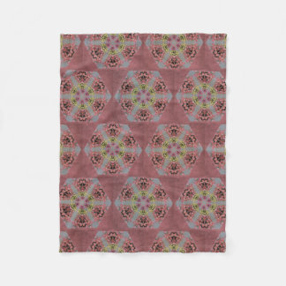 kaleidoscope pattern, pink and yellow roses fleece blanket