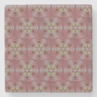 kaleidoscope pattern, pink and yellow roses stone coaster