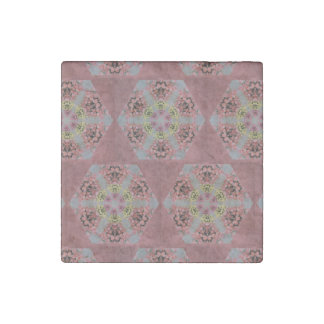 kaleidoscope pattern, pink and yellow roses stone magnet