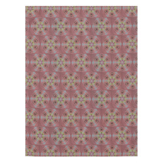 kaleidoscope pattern, pink and yellow roses tablecloth