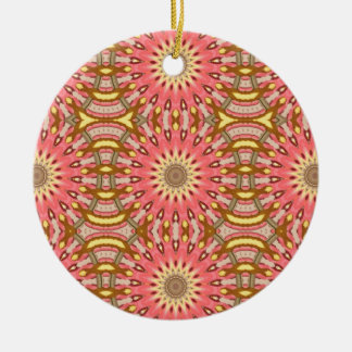 Kaleidoscope Pink Floral Pattern Christmas Ornament