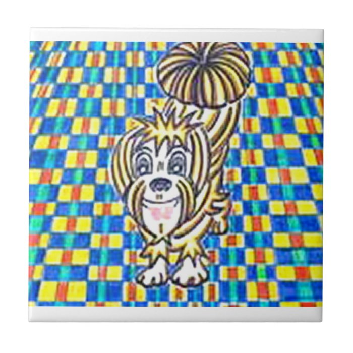 Kaleidoscope Pup Small Square Tile