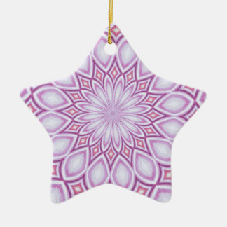 Kaleidoscope purple abstract design ceramic star decoration