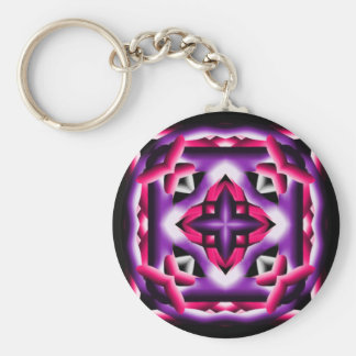 Kaleidoscope Purple Pink and Black Basic Round Button Key Ring