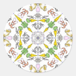 Kaleidoscope rabbits classic round sticker