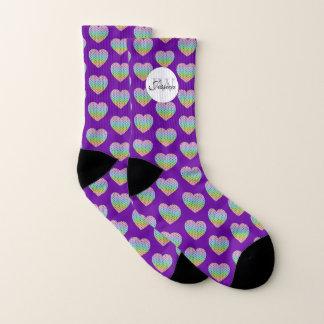 Kaleidoscope rainbow pattern Heart Monogram purple Socks