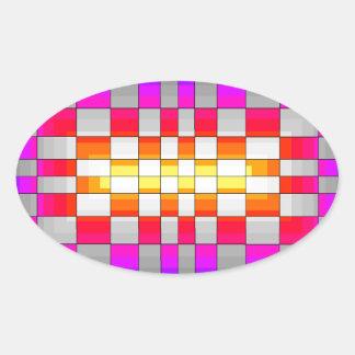 Kaleidoscope Rainbow Spectrum Colors Chessboard Oval Sticker