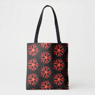 Kaleidoscope Red Flower Tote Bag