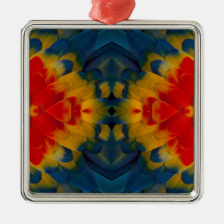 Kaleidoscope Scarlet Macaw design Christmas Ornament
