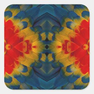 Kaleidoscope Scarlet Macaw design Square Sticker
