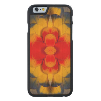 Kaleidoscope Scarlet Macaw feather Carved® Maple iPhone 6 Case