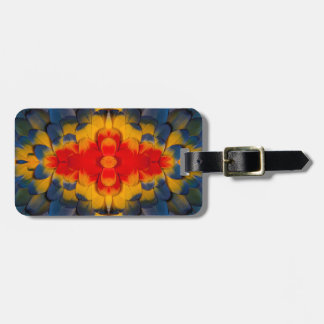 Kaleidoscope Scarlet Macaw feather Luggage Tag