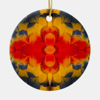 Kaleidoscope Scarlet Macaw feather Round Ceramic Decoration