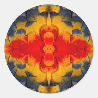 Kaleidoscope Scarlet Macaw feather Round Sticker