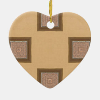 Kaleidoscope Square Modern Pattern Brown and Beige Christmas Ornament