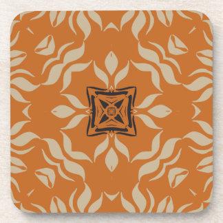 Kaleidoscope Square Orange Tan Brown Drink Coasters