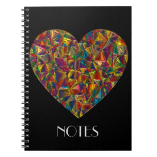 Kaleidoscope Stained Glass Heart Notebook