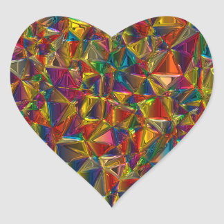 Kaleidoscope Stained Glass Heart Shape Stickers