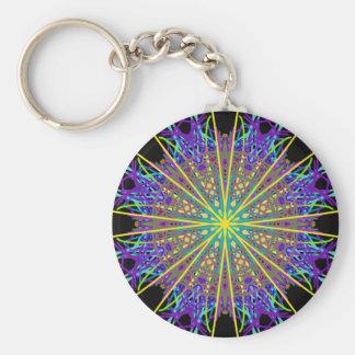 Kaleidoscope Star, Purple Orange Green Art Basic Round Button Key Ring