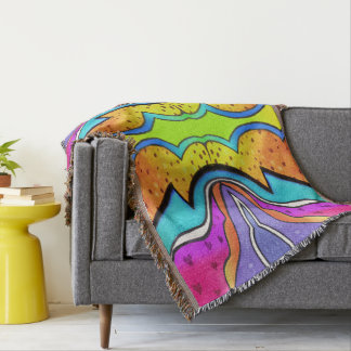 KALEIDOSCOPE WATERCOLOR THROW BLANKET
