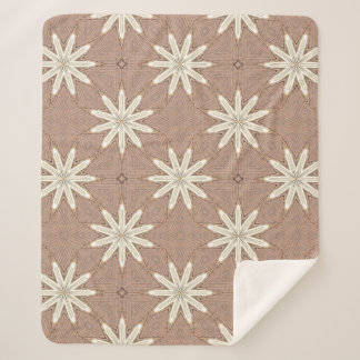 Kaleidoscope White Flowers on Beige Pattern Sherpa Blanket