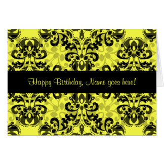 Kaleidoscopic damask pattern black yellow birthday greeting card