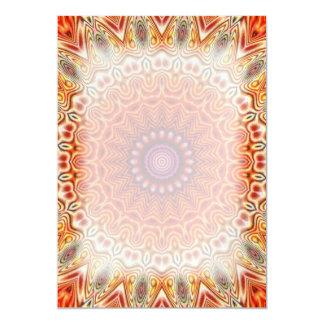Kaleidoscopic Flower Orange And White Design 13 Cm X 18 Cm Invitation Card