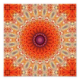 Kaleidoscopic Flower Orange And White Design Photograph