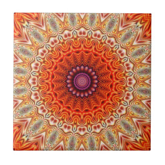 Kaleidoscopic Flower Orange And White Design Small Square Tile