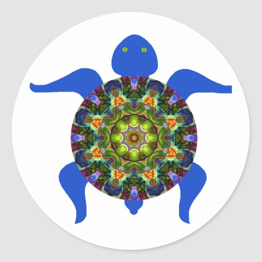 Kaleidoscopic Mandala Turtle Design.8 Classic Round Sticker