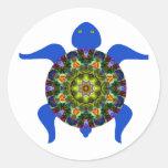 Kaleidoscopic Mandala Turtle Design.8 Round Sticker
