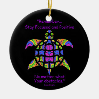 Kaleidoscopic Mandala Turtle Ornament.7 Round Ceramic Decoration