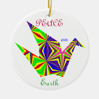 Kaleidoscopic Peace Crane Ornament. 1 Christmas Ornament