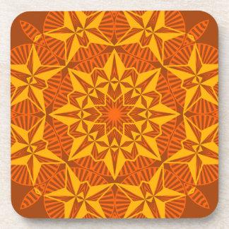 Kaleidscope Star Bright Yellow Gold Orange Brown Drink Coasters
