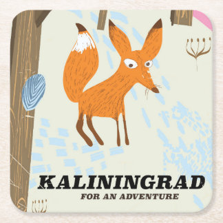 """Kaliningrad """"for an adventure"""" travel poster square paper coaster"""