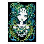 """""""Kallan"""" Green Lotus Water Angel Card"""